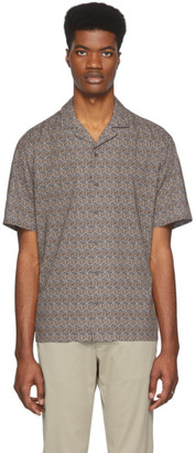 Ermenegildo Zegna Brown and Navy Pattern Short Sleeve T-Shirt