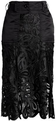 Sacai Paisley Satin & Lace Midi Skirt