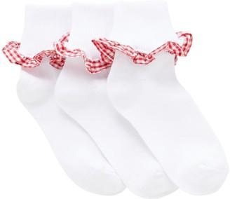 John Lewis & Partners Children's Gingham Trim Socks, Pack of 3