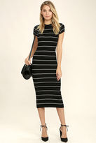 Honey Punch Walk About Black and White Striped Midi Dress