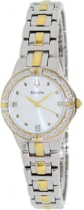 Bulova Women's Diamond 2-tone Stainless Steel Quartz Watch with Silver Dial