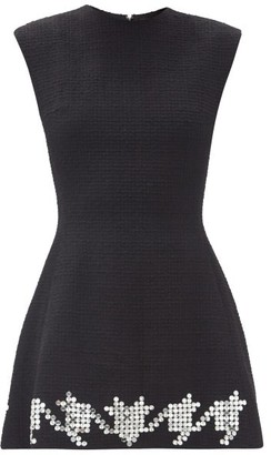 David Koma Crystal-embellished Wool-blend Tweed Mini Dress - Black