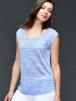 Gap Linen cap sleeve wavy stripe tee
