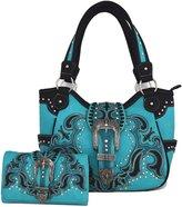Western Cowgirl Concealed Carry Country Belts Buckle Purse Handbag Messenger Shoulder Bag Wallet Set TQ