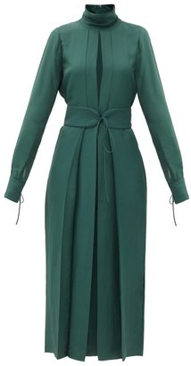 Victoria Beckham Front-slit Belted Satin-twill Dress - Dark Green
