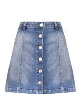 Quiz Light Blue Denim Button Front A-Line Skirt