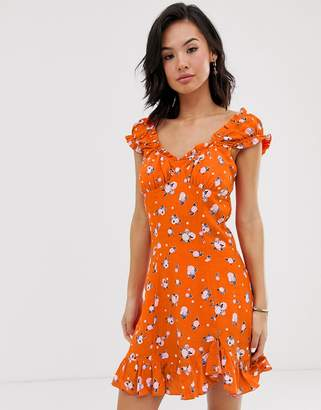 Free People Like A Lady printed mini dress-Orange