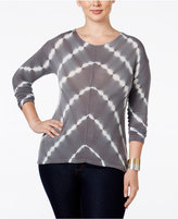INC International Concepts Plus Size Tie-Dyed Handkerchief-Hem Top, Only at Macy's