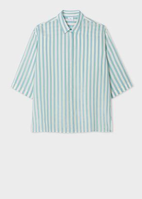 Women's Turquoise And White Stripe Short-Sleeve Shirt
