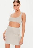 Missguided Silver Slinky Mini Skirt