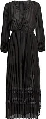 The Kooples Sheer Pleated Long-Sleeve Midi Dress