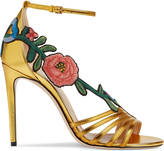 Gucci Embroidered metallic leather mid-heel sandal