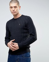 Farah Norfork Cable Knit Crew Neck Jumper