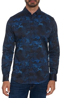 Robert Graham Cotton Blend Abstract Camouflage Tailored Fit Button Up Shirt