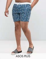 Asos Plus Swim Shorts With Anchor Print In Mid Length