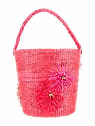 Sensi Straw Bucket Bag w/ Tags Red