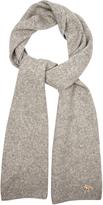 MAISON KITSUNÉ Ribbed-knit wool and camel-blend scarf