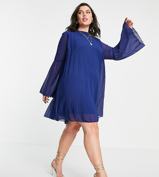 ASOS DESIGN Curve pleated trapeze mini dress with fluted sleeve in navy
