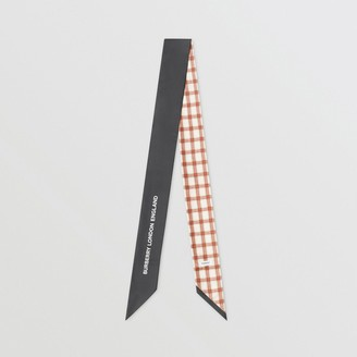 Burberry Check and Logo Print Silk Skinny Scarf