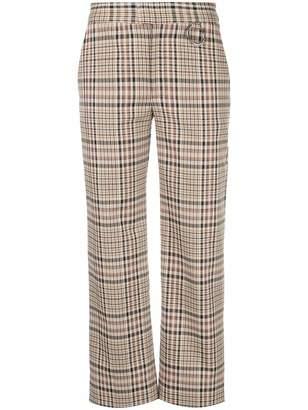 Nomia plaid pattern straight leg trousers