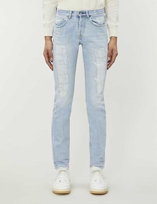 Eleventy Distressed slim-fit tapered stretch-denim jeans