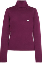 See by Chloe Appliquéd Stretch Cotton-blend Turtleneck Sweater - Plum