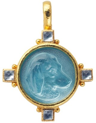 Elizabeth Locke Glass Intaglio Light Aqua `Hound Head 19K Gold Pendant