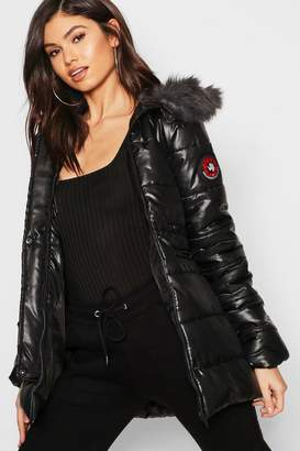 boohoo Cire Padded Faux Fur Hooded Parka