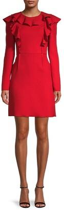 Giambattista Valli Ruffle Long-Sleeve Virgin Wool Sheath Dress