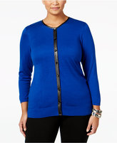 August Silk Plus Size Faux-Leather-Trim Cardigan