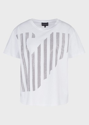 Emporio Armani Mercerised-Jersey T-Shirt With Oversized Eagle And Micro Studs