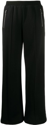 Area straight leg embellished stripe track pants