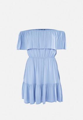 Missguided Blue Crinkle Bardot Frill Hem Skater Dress