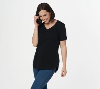 Isaac Mizrahi Live! Essentials V-Neck Curved Hem T-Shirt