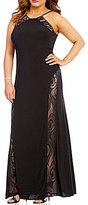 Morgan & Co. Plus High Neck Lace Insets Long Dress