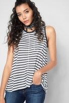 7 For All Mankind Linen Tank With Split Back In Navy White Stripe