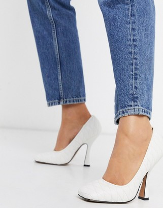 ASOS DESIGN Prestige quilted court shoes in white