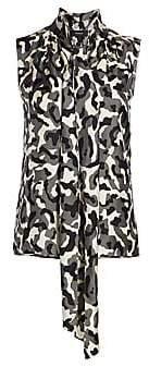 Theory Women's Camouflage Tie-Neck Sleeveless Silk Blouse