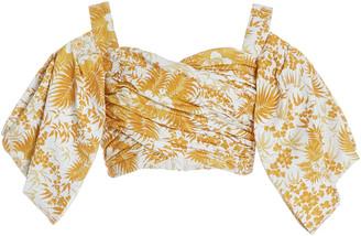 AMUR Lucinda Printed Cotton Bustier Top