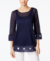 Alfani Crochet-Trim Lace Illusion Top, Only at Macy's