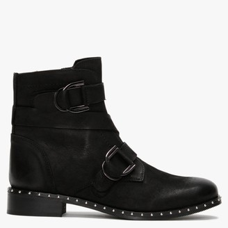 Daniel Sariah Black Leather Double Buckle Ankle Boots