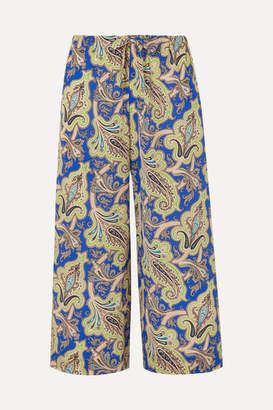 Etro Printed Silk Crepe De Chine Culottes - Blue