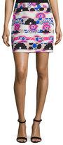 Milly Modern-Print Banded Miniskirt, Multi