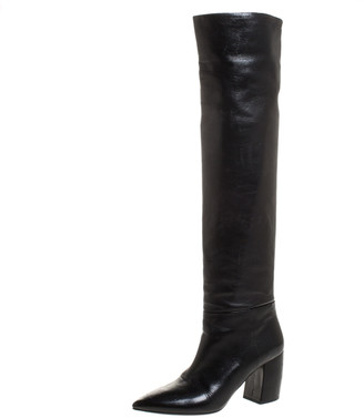 Prada Black Leather Knee Length Boots Size 37