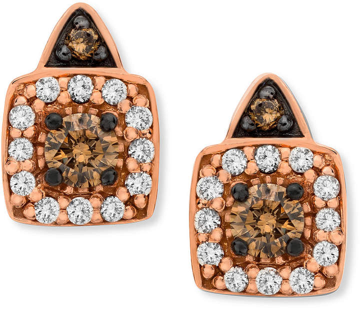 Chocolate By Pee Le Vian And White Diamond Stud Earrings In 14k Rose Gold 1 3 Ct T W