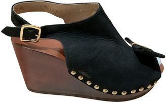 Sandro Black Pony-style calfskin Sandals