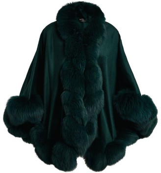 Harrods Fox Fur-Trim Cashmere Cape
