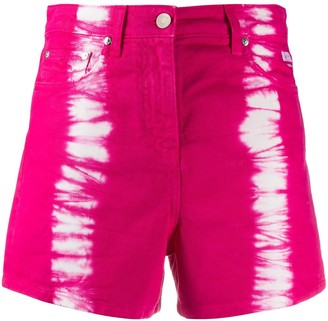MSGM Tie-Dye Print Denim Shorts