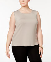 Kasper Plus Size Rounded Square Neck Shell