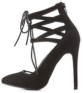 Charlotte Russe Lace-Up Caged Pointed Toe Pumps